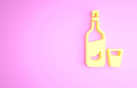 Yellow Vodka with pepper and glass icon isolated on pink background. Ukrainian national alcohol. Minimalism concept. 3d illustration 3D render