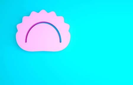 Pink Dumplings icon isolated on blue background. Pierogi, varenyky, pelmeni, ravioli. Traditional Ukrainian food. Minimalism concept. 3d illustration 3D render