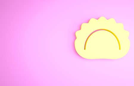 Yellow Dumplings icon isolated on pink background. Pierogi, varenyky, pelmeni, ravioli. Traditional Ukrainian food. Minimalism concept. 3d illustration 3D render