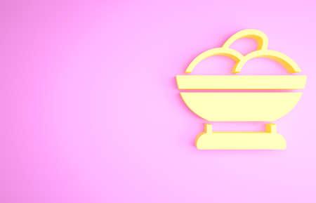 Yellow Varenyky in a bowl icon isolated on pink background. Pierogi, varenyky, dumpling, pelmeni, ravioli. Traditional Ukrainian food. Minimalism concept. 3d illustration 3D render