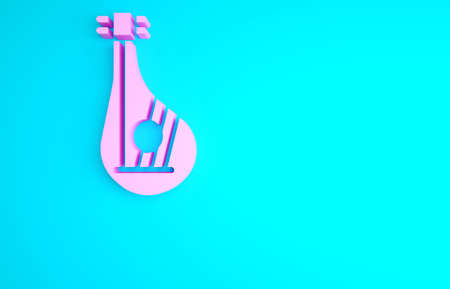 Pink Ukrainian traditional musical instrument bandura icon isolated on blue background. Minimalism concept. 3d illustration 3D render Archivio Fotografico