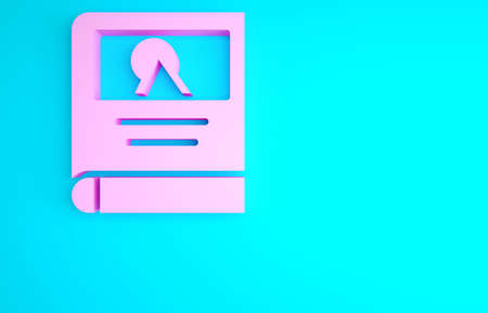 Pink Photo album gallery icon isolated on blue background. Minimalism concept. 3d illustration 3D render Zdjęcie Seryjne