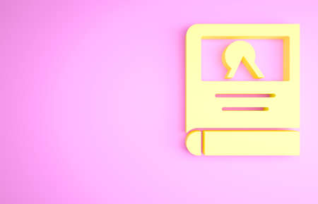Yellow Photo album gallery icon isolated on pink background. Minimalism concept. 3d illustration 3D render Zdjęcie Seryjne