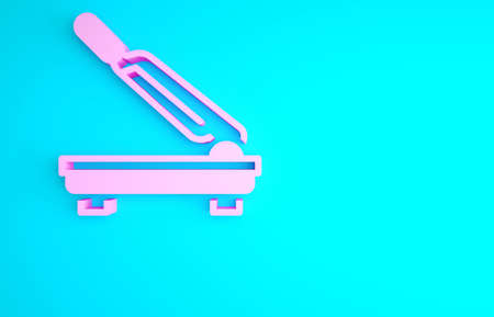 Pink Paper cutter icon isolated on blue background. Minimalism concept. 3d illustration 3D render