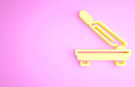 Yellow Paper cutter icon isolated on pink background. Minimalism concept. 3d illustration 3D render Zdjęcie Seryjne