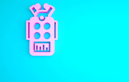 Pink Microphone icon isolated on blue background. On air radio mic microphone. Speaker sign. Minimalism concept. 3d illustration 3D render 版權商用圖片