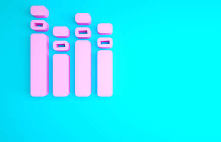 Pink Music equalizer icon isolated on blue background. Sound wave. Audio digital equalizer technology, console panel, pulse musical. Minimalism concept. 3d illustration 3D render