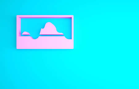 Pink Music wave equalizer icon isolated on blue background. Sound wave. Audio digital equalizer technology, console panel, pulse musical. Minimalism concept. 3d illustration 3D render