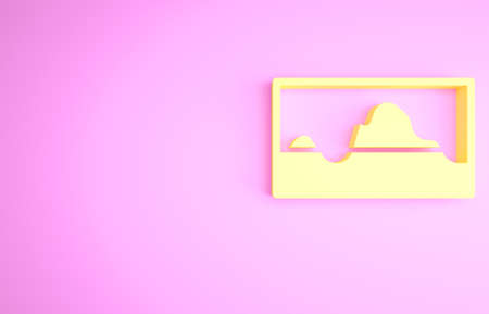Yellow Music wave equalizer icon isolated on pink background. Sound wave. Audio digital equalizer technology, console panel, pulse musical. Minimalism concept. 3d illustration 3D render