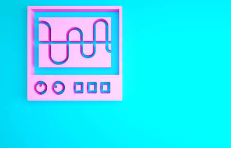 Pink Oscilloscope measurement signal wave icon isolated on blue background. Minimalism concept. 3d illustration 3D render