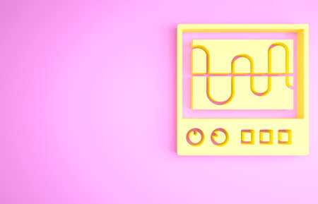 Yellow Oscilloscope measurement signal wave icon isolated on pink background. Minimalism concept. 3d illustration 3D render 版權商用圖片