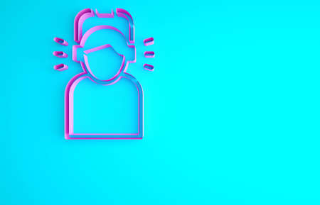 Pink Man in headphones icon isolated on blue background. Minimalism concept. 3d illustration 3D render