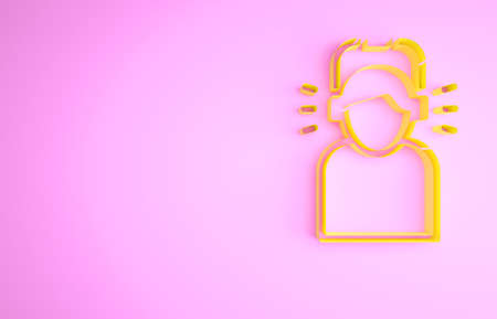 Yellow Man in headphones icon isolated on pink background. Minimalism concept. 3d illustration 3D render 版權商用圖片
