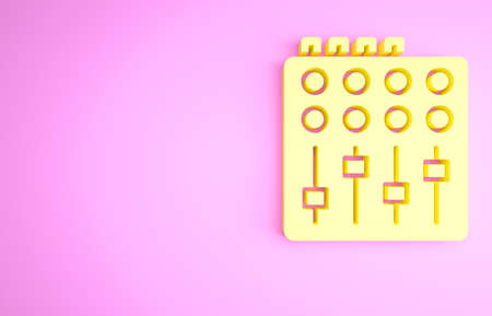Yellow Sound mixer controller icon isolated on pink background. Dj equipment slider buttons. Mixing console. Minimalism concept. 3d illustration 3D render