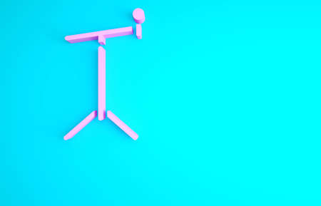 Pink Microphone with stand icon isolated on blue background. Minimalism concept. 3d illustration 3D render 版權商用圖片