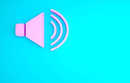 Pink Speaker volume, audio voice sound symbol, media music icon isolated on blue background. Minimalism concept. 3d illustration 3D render