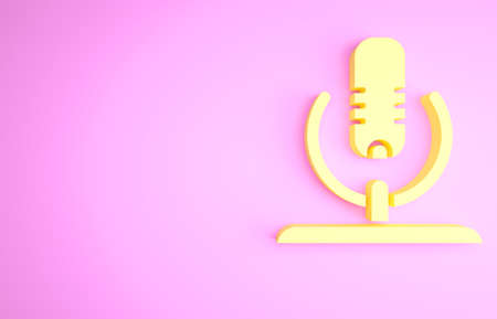 Yellow Microphone icon isolated on pink background. On air radio mic microphone. Speaker sign. Minimalism concept. 3d illustration 3D render