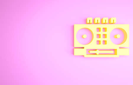 Yellow DJ remote for playing and mixing music icon isolated on pink background. DJ mixer complete with vinyl player and remote control. Minimalism concept. 3d illustration 3D render
