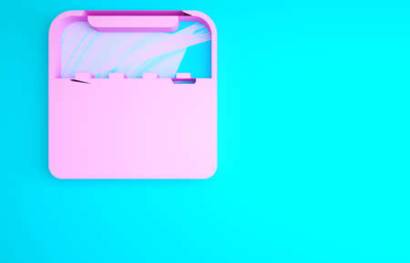 Pink Home stereo with two speakers icon isolated on blue background. Music system. Minimalism concept. 3d illustration 3D render