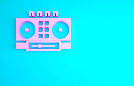 Pink DJ remote for playing and mixing music icon isolated on blue background. DJ mixer complete with vinyl player and remote control. Minimalism concept. 3d illustration 3D render 版權商用圖片