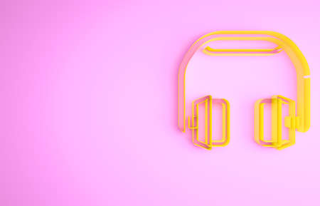 Yellow Headphones icon isolated on pink background. Earphones. Concept for listening to music, service, communication and operator. Minimalism concept. 3d illustration 3D render 版權商用圖片
