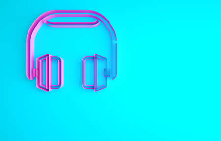 Pink Headphones icon isolated on blue background. Earphones. Concept for listening to music, service, communication and operator. Minimalism concept. 3d illustration 3D render 版權商用圖片