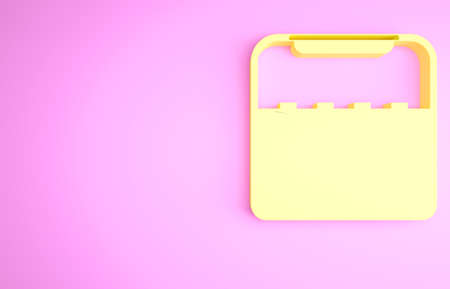 Yellow Home stereo with two speakers icon isolated on pink background. Music system. Minimalism concept. 3d illustration 3D render