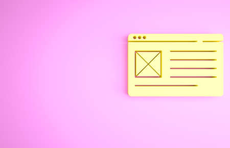 Yellow Browser window icon isolated on pink background. Minimalism concept. 3d illustration 3D render