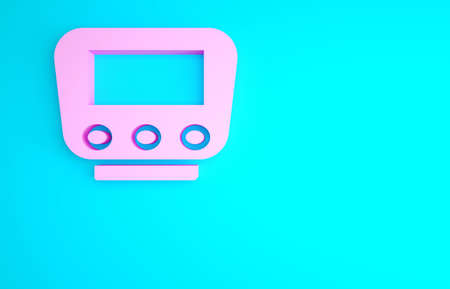 Pink Bicycle speedometer icon isolated on blue background. Minimalism concept. 3d illustration 3D render