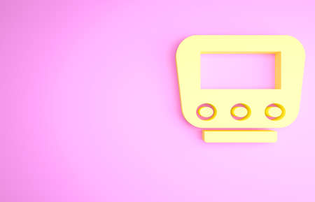 Yellow Bicycle speedometer icon isolated on pink background. Minimalism concept. 3d illustration 3D render
