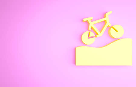 Yellow Mountain bicycle icon isolated on pink background. Bike race. Extreme sport. Sport equipment. Minimalism concept. 3d illustration 3D render Banque d'images - 157855603