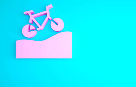 Pink Mountain bicycle icon isolated on blue background. Bike race. Extreme sport. Sport equipment. Minimalism concept. 3d illustration 3D render Banque d'images - 157855606