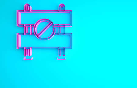 Pink Road barrier icon isolated on blue background. Symbol of restricted area which are in under construction processes. Repair works. Minimalism concept. 3d illustration 3D render