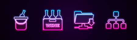 Set line Bottle of wine in bucket, Bottles box, FTP folder download and Hierarchy organogram chart. Glowing neon icon. Vector 矢量图像
