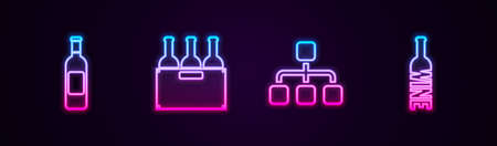 Set line Bottle of wine, Bottles box, Hierarchy organogram chart and . Glowing neon icon. Vector