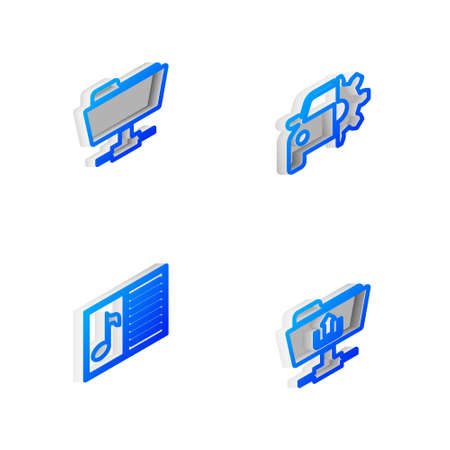 Set Isometric line Car service, FTP folder, Music book with note and upload icon. Vector 矢量图像