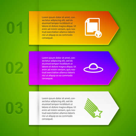Set line Unknown document, UFO flying spaceship, Falling star and FTP folder download. Business infographic template. Vector 矢量图像