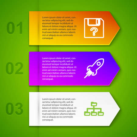 Set line Unknown document, Rocket ship with fire, Folder tree and . Business infographic template. Vector 向量圖像