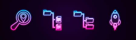 Set line Search location, Folder tree, and Rocket ship with fire. Glowing neon icon. Vector