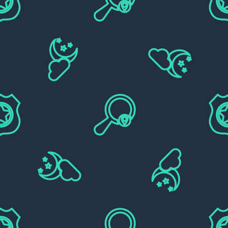 Set line Search location, Cloud with moon and stars and Police badge on seamless pattern. Vector Ilustracja