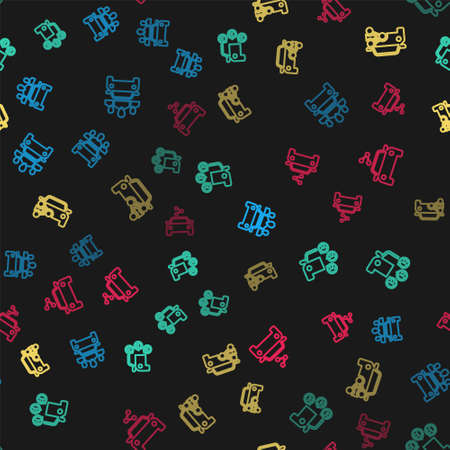 Set line Car sharing, , and on seamless pattern. Vector