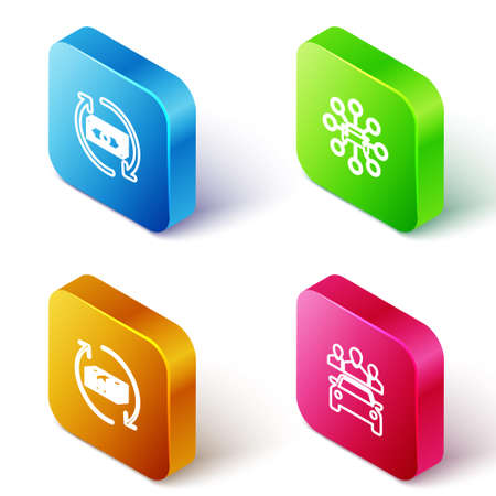 Set Isometric line Refund money, Car sharing, and icon. Vector