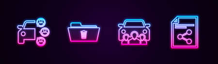 Set line Car sharing, Delete folder, and Share file. Glowing neon icon. Vector