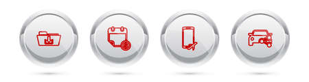 Set line Folder download, Financial calendar, Flight mode the mobile and Car sharing. Silver circle button. Vector 矢量图像