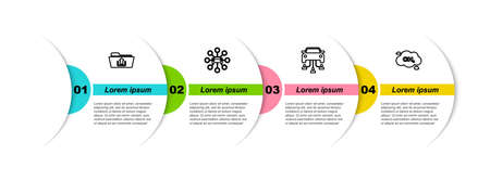 Set line Folder upload, Car sharing, and Methane emissions reduction. Business infographic template. Vector