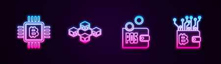 Set line CPU mining farm, Blockchain technology, Proof of stake and Cryptocurrency wallet. Glowing neon icon. Vector Vektorgrafik