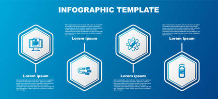 Set line Clinical record on monitor, Magnet with money, Genetic engineering and Medical vial, ampoule. Business infographic template. Vector