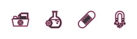 Set line Health record folder, Bandage plaster, Bioengineering and Magnet with money icon. Vector 向量圖像