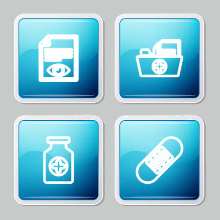 Set line Paper page with eye, Health record folder, Medicine bottle and Bandage plaster icon. Vector
