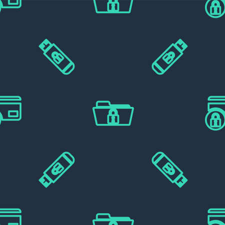 Set line Folder and lock, USB flash drive with and Credit card on seamless pattern. Vector 版權商用圖片 - 157950200
